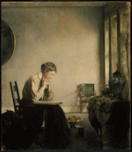 Detail from Edmund Charles Tarbell, Girl Reading, 1909, oil on canvas, Palmer Museum of Art, Pennsylvania State University, Gift of the Frank Family